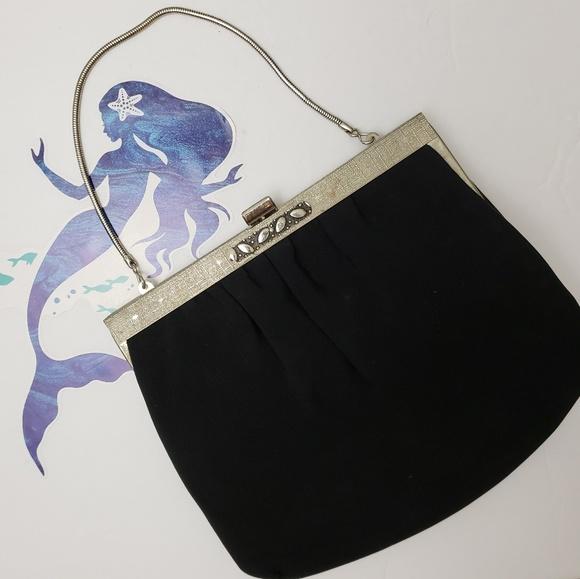Vintage Handbags - Vintage Ande Black Silver Framed Cocktail Handbag